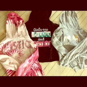 4 Justice Cropped Hoodies Shirt Bundle Size 18/20